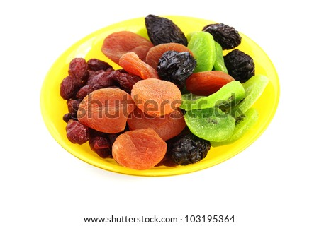 Dried fruits in vase isolated on white background. - stock photo