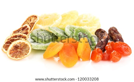 Dried fruits isolated on white - stock photo