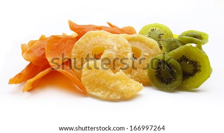 Dried fruits isolated on white background - stock photo