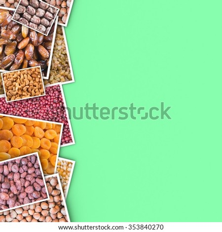 Dried fruits of the photo on a color background. - stock photo