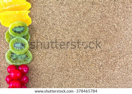 Dried fruits on wooden floors./ Dried fruits