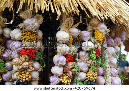 Dried garlic in bunches under a thatched roof - stock photo