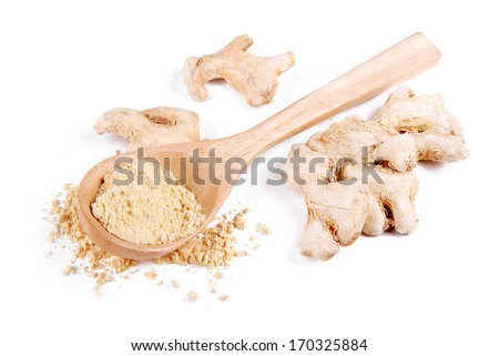Dried ginger root and ground - stock photo