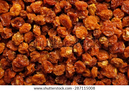 Dried goldenberries as an abstract background texture - stock photo