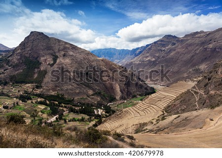 dried grass in the ancient stone terraces - stock photo