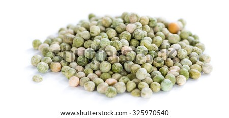 Dried green Peas (close-up shot)  isolated on white background - stock photo