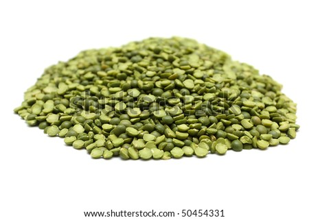 Dried green peas isolated on white background - stock photo