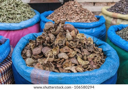 Dried grenadine sack in Marrakech souk at Morocco - stock photo