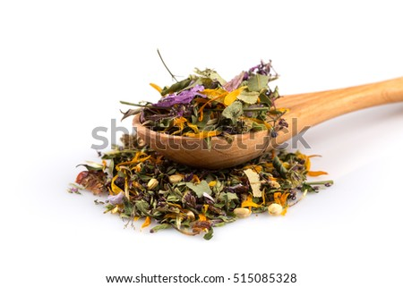 Dried herbal flower tea leaves over white background