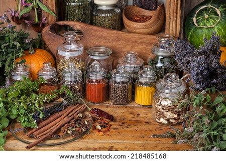 Dried herbs and spices. - stock photo