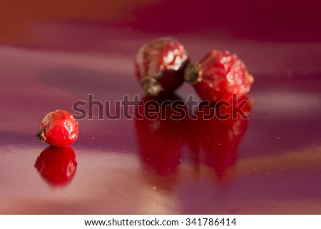 Dried hips of dog rose on red background - stock photo