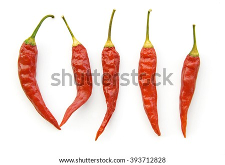 dried hot red chili peppers isolated on white background - stock photo