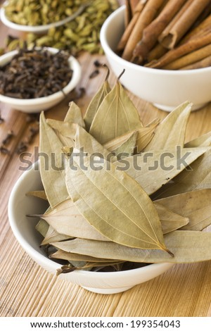 Dried Indian Bay Leaves and Spices