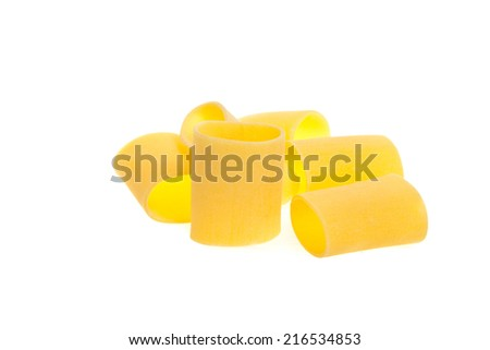 Dried italian pasta isolated in white background