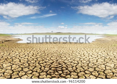 Dried land near Brisbane landscape, Suitable for global warming themes. - stock photo