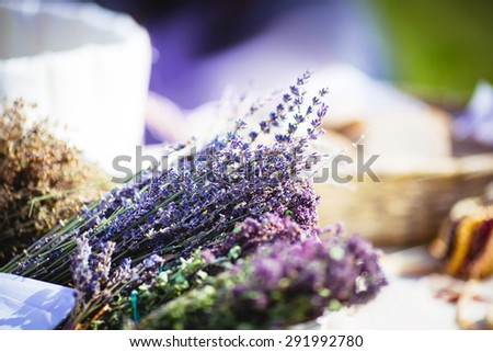 Dried lavender at the market. Selective focus. - stock photo