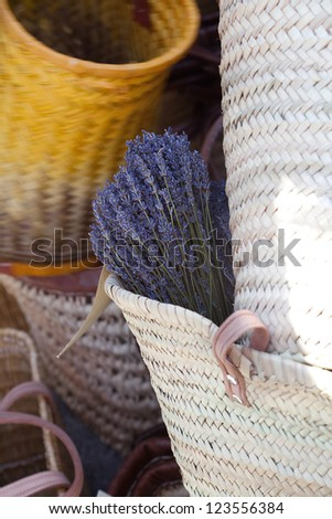 dried lavender flowers in a basket at the fair