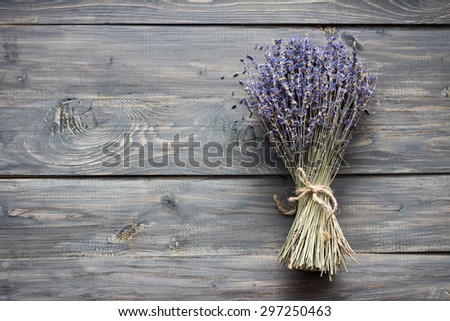 Dried lavender on wooden table