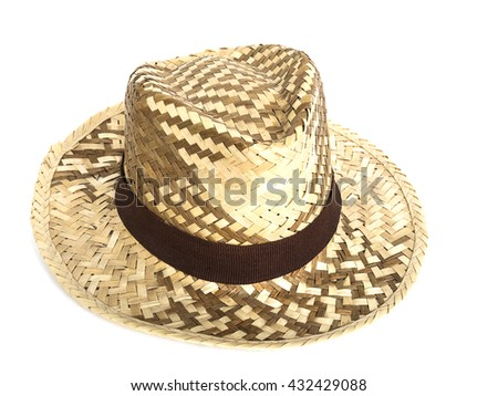 Dried leaves woven hats isolated over white