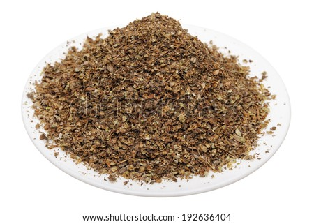 Dried marjoram on a white background, isolated - stock photo