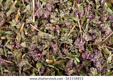 Dried marjoram spice as food background