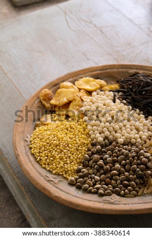dried mixed beans and pulses - stock photo