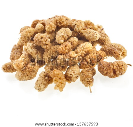 dried mullberry berries  isolated on white background
