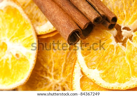 Dried orange and cinnamon sticks - christmas decoration - stock photo