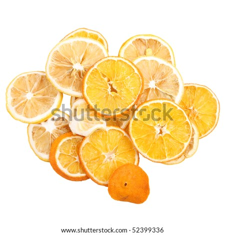 dried orange on white bacground (isolated, clipping path)