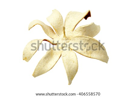 dried orange peel isolated on a white background - stock photo