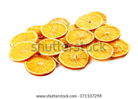 Dried orange slices isolated on a white