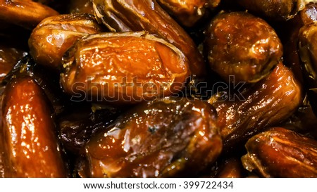 Dried organic date fruits background