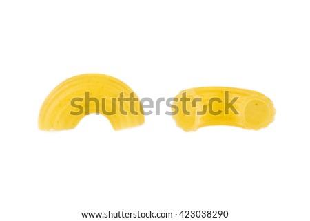 Dried Pasta Or Elbow Macaroni Over White Background Closeup