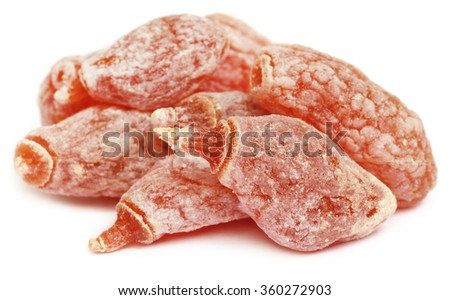 Dried Peach over white background