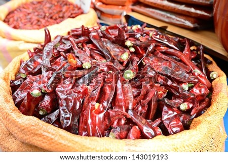 Dried peppers for sale at a market