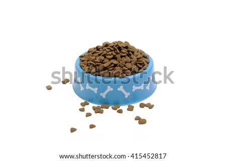 Dried pet food in blue bowl isolated on white