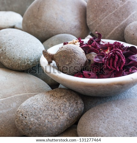 dried petals and plants in cup on zen stone background