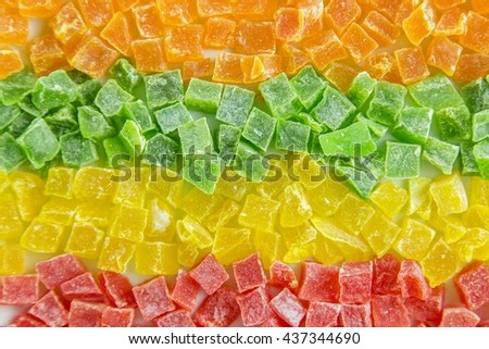 Dried pineapple, candied fruits - stock photo