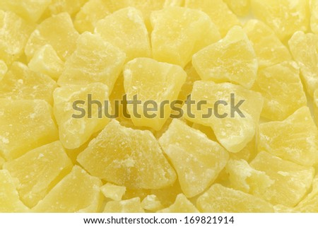 Dried pineapple dices - stock photo