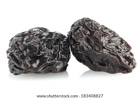 Dried plum fruits - prunes isolated on white background.