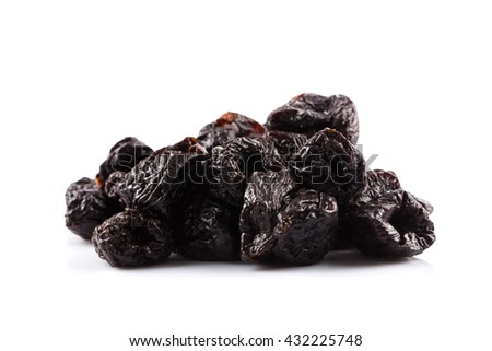 Dried plum - prunes fruits isolated on a white background - stock photo