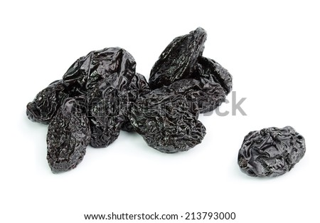 Dried plum - prunes isolated on a white background - stock photo