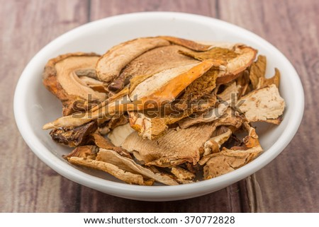 Dried porcini mushroom in a white bowl over wooden background