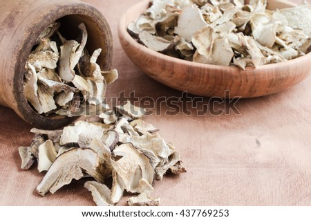 Dried porcini mushrooms in a bowl on a wooden table. Rustic style. Autumn harvest.