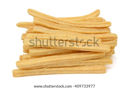 Dried potatoe slices isolated on white background