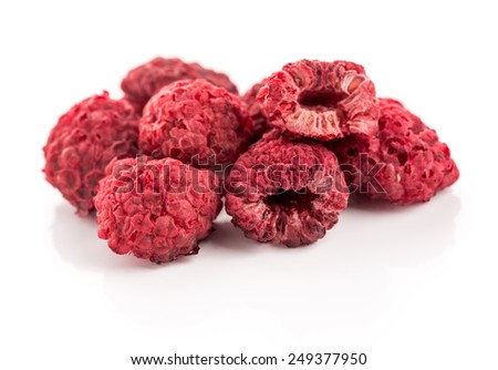 Dried Raspberry Dried Raspberry isolated on white background. - stock photo