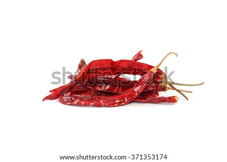 Dried red chili pepper on white background, Cayenne, Herb, Food ingredient. - stock photo