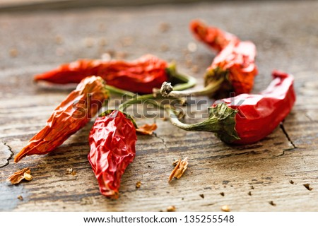 Dried red chilly pepper - stock photo