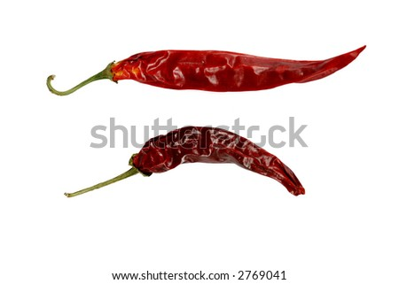 Dried red peppers, isolated on white