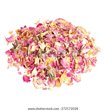 Dried roses isolated on white background. - stock photo